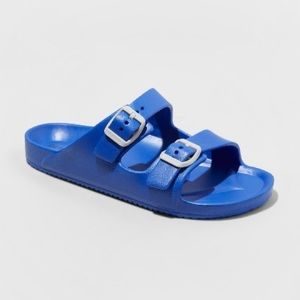 Boys Cat & Jack Cool Summer Buckle Blue Slides NWT